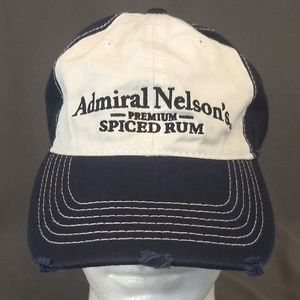 NEW Admiral Nelson Spiced Rum Distressed Denim Cap